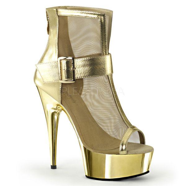 Plateau Ankle Boots Kunstleder gold mit breitem Riemchen DELIGHT-600-23